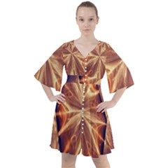 Sun Fractal Boho Button Up Dress