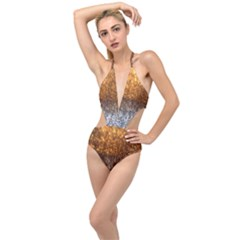 Glitter Gold Plunging Cut Out Swimsuit