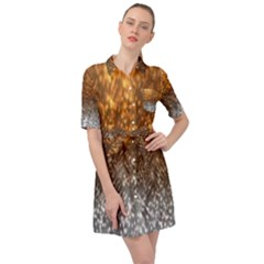 Glitter Gold Belted Shirt Dress by Sparkle