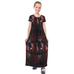 Twist Flower Kids  Short Sleeve Maxi Dress by Sparkle
