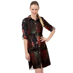 Twist Flower Long Sleeve Mini Shirt Dress by Sparkle