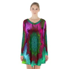 Rainbow Waves Long Sleeve Velvet V-neck Dress