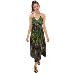Green Glitter Squre Halter Tie Back Dress