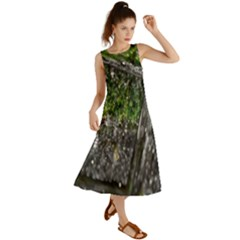 Green Glitter Squre Summer Maxi Dress
