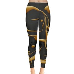 Gold Dog Cat Animal Jewel Leggings