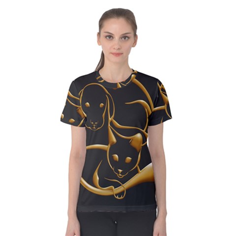 Gold Dog Cat Animal Jewel Women s Cotton Tee by HermanTelo