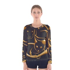 Gold Dog Cat Animal Jewel Women s Long Sleeve Tee