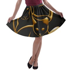 Gold Dog Cat Animal Jewel A-line Skater Skirt