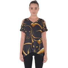 Gold Dog Cat Animal Jewel Cut Out Side Drop Tee