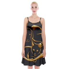Gold Dog Cat Animal Jewel Spaghetti Strap Velvet Dress