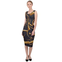 Gold Dog Cat Animal Jewel Sleeveless Pencil Dress