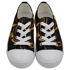 Gold Dog Cat Animal Jewel Kids  Low Top Canvas Sneakers