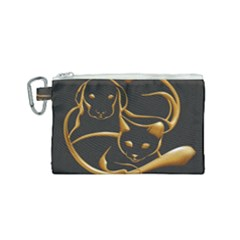 Gold Dog Cat Animal Jewel Canvas Cosmetic Bag (small)