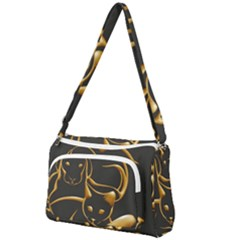 Gold Dog Cat Animal Jewel Front Pocket Crossbody Bag
