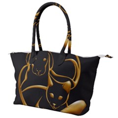 Gold Dog Cat Animal Jewel Canvas Shoulder Bag by HermanTelo
