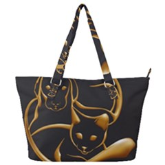 Gold Dog Cat Animal Jewel Full Print Shoulder Bag