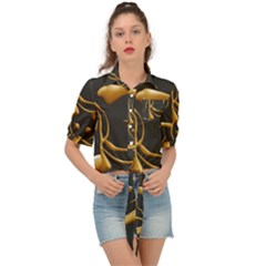 Gold Dog Cat Animal Jewel Tie Front Shirt  by HermanTelo
