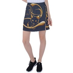 Gold Dog Cat Animal Jewel Tennis Skirt