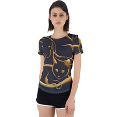 Gold Dog Cat Animal Jewel Back Cut Out Sport Tee