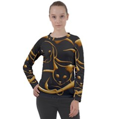 Gold Dog Cat Animal Jewel Women s Long Sleeve Raglan Tee