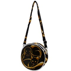 Gold Dog Cat Animal Jewel Crossbody Circle Bag