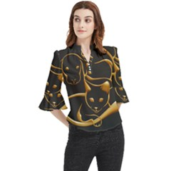 Gold Dog Cat Animal Jewel Loose Horn Sleeve Chiffon Blouse