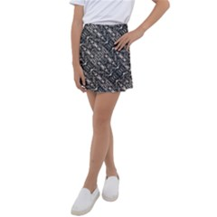 Modern Tribal Silver Ornate Pattern Print Kids  Tennis Skirt by dflcprintsclothing