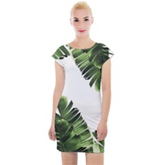 Banana Leaves Cap Sleeve Bodycon Dress by goljakoff