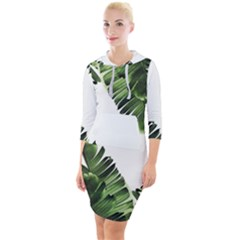 Banana Leaves Quarter Sleeve Hood Bodycon Dress by goljakoff