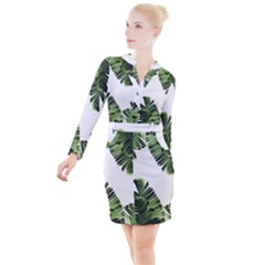 Banana Leaves Button Long Sleeve Dress by goljakoff