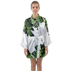 Banana Leaves Long Sleeve Satin Kimono by goljakoff