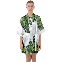 Banana Leaves Half Sleeve Satin Kimono  by goljakoff