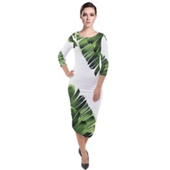 Banana Leaves Quarter Sleeve Midi Velour Bodycon Dress by goljakoff