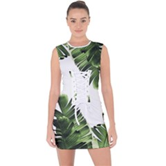 Banana Leaves Lace Up Front Bodycon Dress by goljakoff