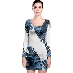 Blue Banana Leaves Long Sleeve Bodycon Dress by goljakoff