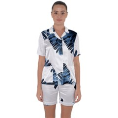 Blue Banana Leaves Satin Short Sleeve Pyjamas Set by goljakoff