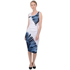 Blue Banana Leaves Sleeveless Pencil Dress by goljakoff