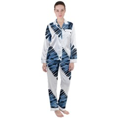 Blue Banana Leaves Satin Long Sleeve Pyjamas Set by goljakoff