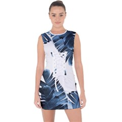 Blue Banana Leaves Lace Up Front Bodycon Dress by goljakoff