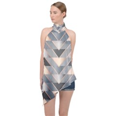 Modern Triangles Halter Asymmetric Satin Top
