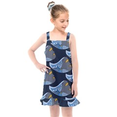 Queen Fish Doodle Art Kids  Overall Dress
