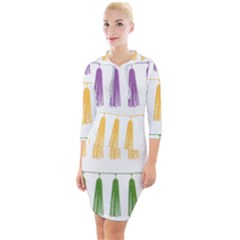 Tassels Tassel Bunting Banner Quarter Sleeve Hood Bodycon Dress
