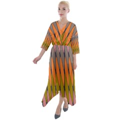 Zappwaits - Your Quarter Sleeve Wrap Front Maxi Dress