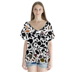 Zappwaits - Words V-neck Flutter Sleeve Top by zappwaits