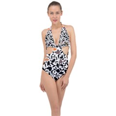 Zappwaits - Words Halter Front Plunge Swimsuit by zappwaits