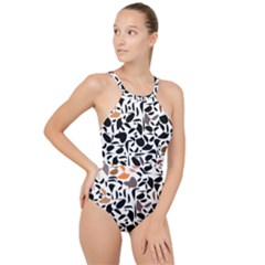 Zappwaits - Words High Neck One Piece Swimsuit by zappwaits