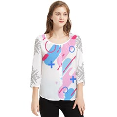 Abstract Geometric Pattern  Chiffon Quarter Sleeve Blouse