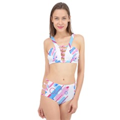 Abstract Geometric Pattern  Cage Up Bikini Set by brightlightarts