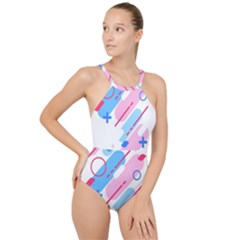 Abstract Geometric Pattern  High Neck One Piece Swimsuit by brightlightarts