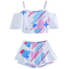 Abstract Geometric Pattern  Kids  Off Shoulder Skirt Bikini by brightlightarts